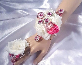White Rose Hot Pink Accent Wrist Corsage and Boutineer