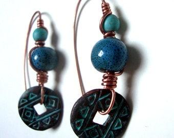 Aztec tribal bohemian copper ceramic turquoise earrings