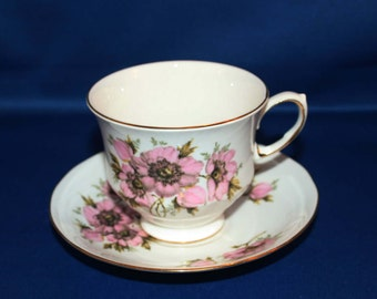 Vintage Queen Anne Bone China Tea Cup and Saucer Pattern 8470 Ridgway Potteries