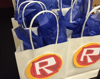 Roblox-inspired Favor Bag Tags (Six tags, 4-inch) (Bags not included.)