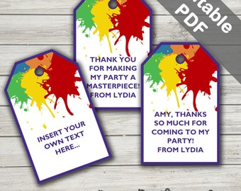 Art Party Favor Tags (Art Thank You Tags). Printable PDF (EDITABLE). Instant Download.