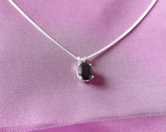 925 Sterling Silver and Black Spinel Necklace