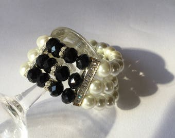 1950 pearl black jet extensible rhinestones bracelet