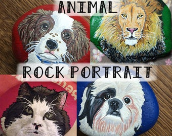 DEPOSIT for custom pet portrait / animal painted rock gift *DEPOSIT ONLY*
