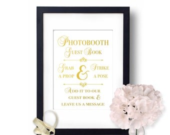 Photo booth sign, Wedding photobooth, Gold Wedding decor, Guest Book Sign, wedding signs photo booth, wedding ideas, guest book ideas