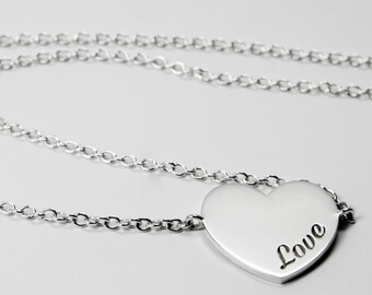 Necklace Heart Customizable - Text to customize - Letters - Sterling 925