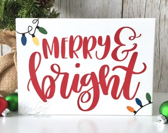 Merry And Bright Sign - Christmas Decoration - Mini Merry Sign - Christmas Sign - Holiday Decor - Merry Christmas - Christmas Lights