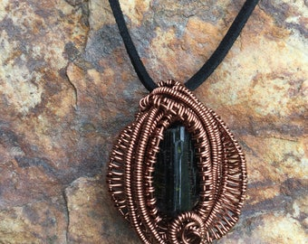 Black tourmaline wire wrap necklace pendant