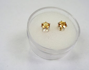 Sapphire Yellow Posts.  4.25mm. Yellow Sapphire, 85 pts. in total, Silver Stud Earrings .