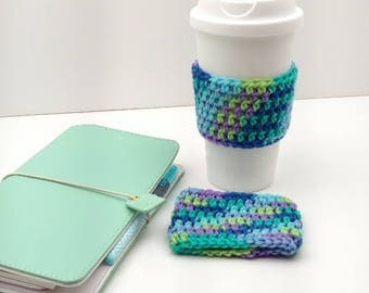 Multi- Colored Crochet Cup Cozy: Coffee/Tea Sleeve     [063]