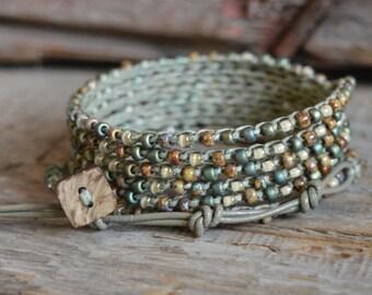 Beaded Crochet Jewelry, Beaded Crochet Bracelet, Crochet Wrap Bracelet, Boho Beach Jewelry, Crocheted Jewelry, Wrap Bracelet