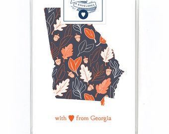 Love From Georgia Card Box Set of 5 - Georgia State Card - State Pride Card - Single Card Blank Inside