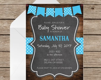 Baby Shower Invitation|Rustic Wood Chalkboard| Baby Boy Shower|Printed Baby Shower Invites|Rustic Country Baby Shower|Professionally Printed