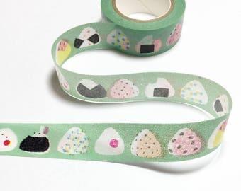 Sushi Onigiri Rice Ball Washi Tape / Rice Ball Decorative Tape / Green Masking Tape / Japan Washi Tape 10m m16