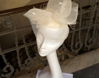 Free Shipping - Bridal Fascinator Ivory Bridal Hat Crinoline Sculpture Feathers and Pearls wedding hat Bridal Headpiece  Cool Bridal Hat JCN