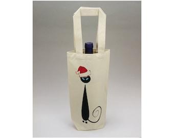 Wine Gift Bag, Christmas Gift Bag, Canvas Wine Bag,  Reusable Wine Bag, Bottle Bag, Siamese Cat Bag, Wine Bag, Mid Century