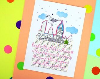 Our Dreams Become Stars Original Collage Artwork