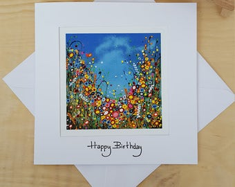 Happy Birthday Card. Art Print Greeting Card. Thank you. Get Well Soon. With Love. Thinking of You. Choose your sentiment