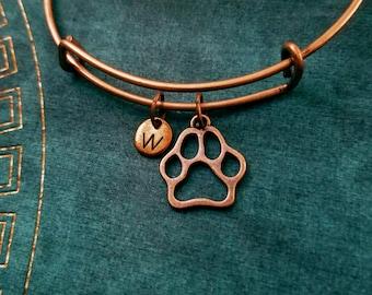 Paw Bracelet Dog Paw Bangle Cat Paw Print Bracelet Animal Bracelet Initial Bracelet Stackable Bangle Adjustable Bangle Personalized Bangle
