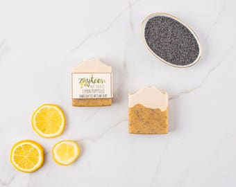 SALE Lemon Poppyseed Soap -- Exfoliating Natural Soap with Poppyseeds and Essential oils -- Vegan Soap