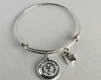 Air Force Charm Bangle, Air Force Bracelet, Military Jewelry, American Flag Charm, Gift for Air Force Mom, Air Force Wife, MIL002