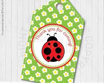 LADYBUG  FAVOR TAGS, Printable Ladybug Tags, Ladybug Party Decoration - Instant Download digital file