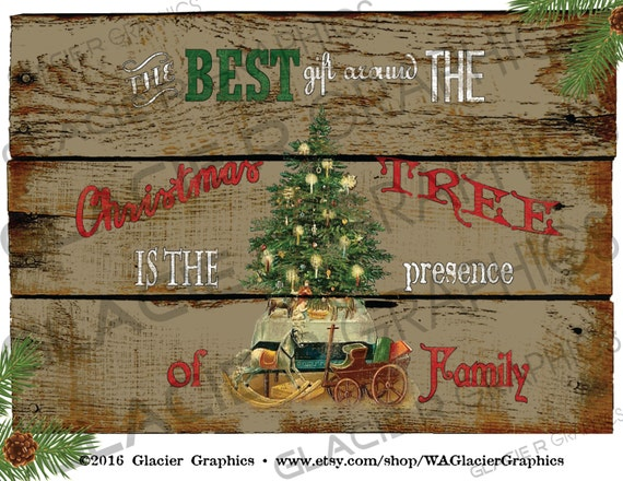 country christmas tree family primitive sign digital download