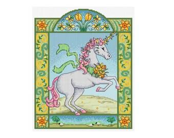 Spring Unicorn - Durene J Cross Stitch Pattern - DJXS 2214