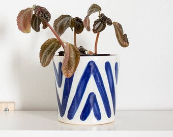 White & Indigo Blue Boho Ceramic Planter by Barombi Studios