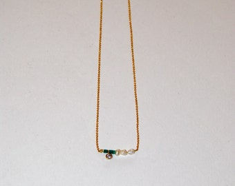 Fine gold-plated necklace with micro Turquoise and small pearls of water