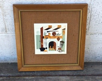 Mid Century Modern Wall Decor, Soriano Ceramics, Ceramic Tile on Burlap, Solid Wood Frame