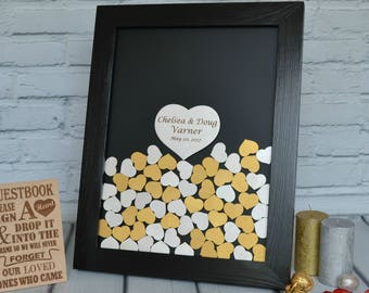 Personalized Gift Guest Book Unique Guestbook Wedding Drop Box Frame Hearts