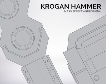 Mass Effect Andromeda Krogan hammer blueprint 1:1 scale
