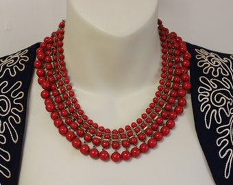 Lovely 1950's Red Beaded Fringe Bib / Collar Necklace with Brass Links / Statement Necklace / 1950's Glamour