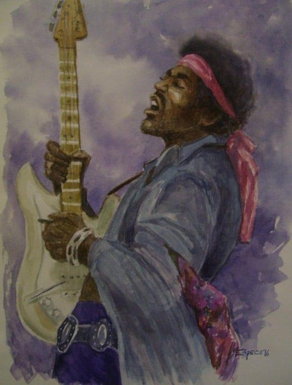 Jimmie Hendrix,Purple Haze,16x20 Original Watercolor,ONE OF A KIND, Not a Print,Free Shipping Code SKYE2