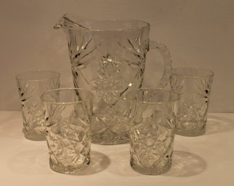 Anchor Hocking - EAPC - Star Of David Pattern - Pitcher and Glass Set - Early American Prescut