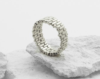 Brick Arch Ring (Sterling Silver 3D Printed Architecture Ring)