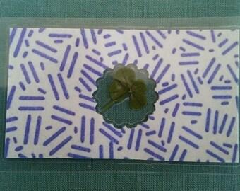 Real four leaf clover wallet card or bookmark