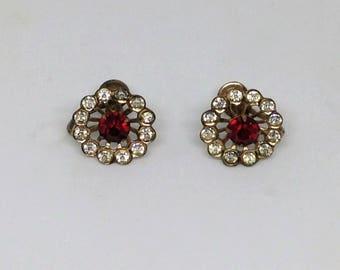 Red and Clear Rhinestone Screw Back Earrings, Ruby Red Rhinestone Earrings, Vintage Ruby Faux Diamond Earrings, Screw back Earrings