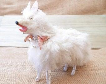 Antique Real Fur Samoyed, Spitz, Pomeranian Toy Dog