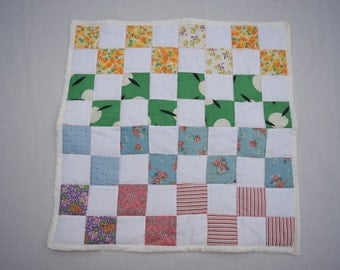 Floral/Checked American Girl Doll Quilt - Vintage Cotton Feedsack Fabric