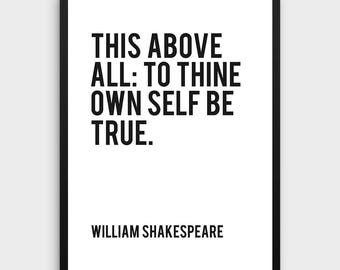 Literature Poster | This above all, to thine own self be true, William Shakespeare, Hamlet, Literature Art Print, Book Art Print, Book Quote