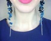 Blue Cluster Earrings, Long Dangle Pearl Earrings, Drop Elegant Flower Strand Earrings