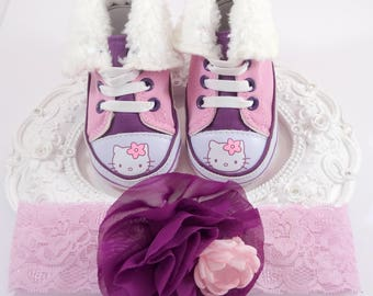 Baby Girl Crib Shoes and Headband Set, Newborn Baby Girl Shoes, Baby Accessories, Shower Gift, Gift for Baby 6-9 MONTHS