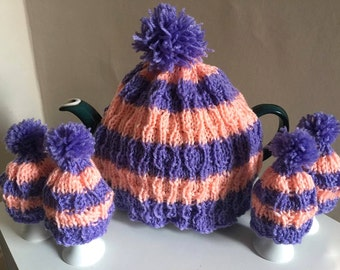 Striped Pink and Purple Tea Cosy and Egg Cosy Set | Hand Knit in Lilac and Peach Wool