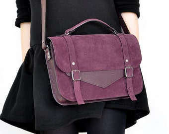 Wine Leather satchel with a long strap
