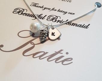 Bridesmaid gift, bridesmaid necklace, bridesmaid, bridesmaid jewelry, bridesmaid jewellery, acorn necklace, gift for bridesmaid