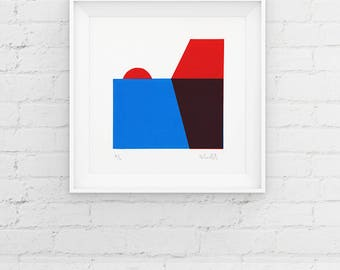 Limited Edition Geometric Sunset Screenprint, Handmade Minimal Print, Contemporary 2 Colour Screenprint