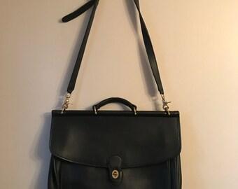 Vintage Briefcase- Vintage Black Leather Coach Briefcase