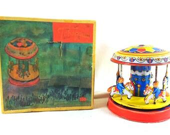Very Rare 1960s Toboggan 199 Carousel Tin Toy - Spinning Carousel